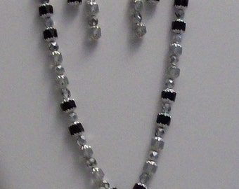 Black & Clear Cathedral Beaded Necklace Set,Jewelry,Necklaces,Earrings,Gift Ideas,Gifts,Gifts for Her,Anniversaries,Women,Chic,Christmas