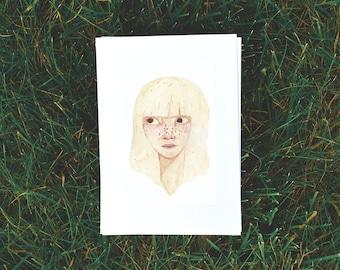 Watercolor blond girl postcard
