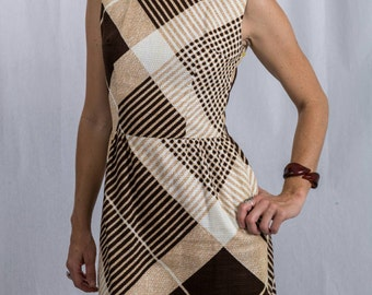 Vintage 70s MOD Sheath (Bleeker Street) Dress with Earth Tones with Tags