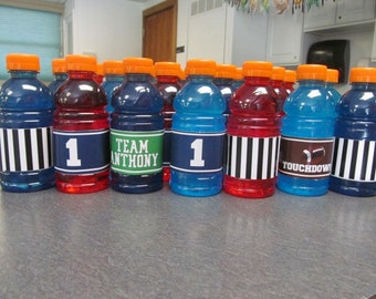 Personalized Football Themed Bottle Wrappers- Printable