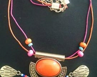 aztec inspired corded necklace