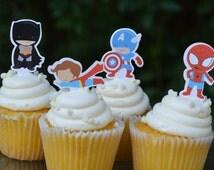 Super Hero Cupcake Toppers. Avengers. Spider-Man. Batman. Superman. Iron Man. Thor. Captain America. Birthday Party. Baby Shower.