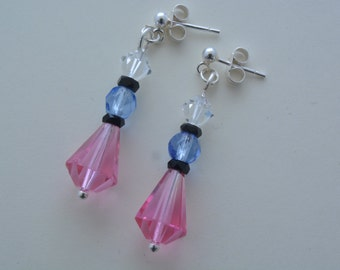Sterling silver pink and blue glass drop earrings