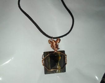 Tigers eye pyramid necklace