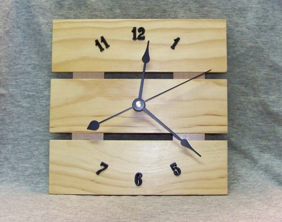 Wood Wall Clock, Solid Pine Face, 8 Inch