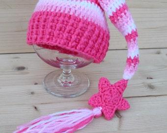 Crochet Elf hat, Elfin Newborn Baby Hat, Pink Striped Elf hat with tassel, Baby Girl Hat, Gnome hat, newborn photo prop