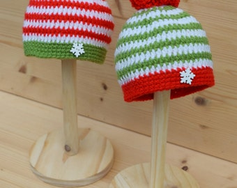 Christmas baby twin hat, Baby beanie hats for twins, Newborn Hat, Baby pom pom hat, Knit baby hat, Photo prop, Christmas