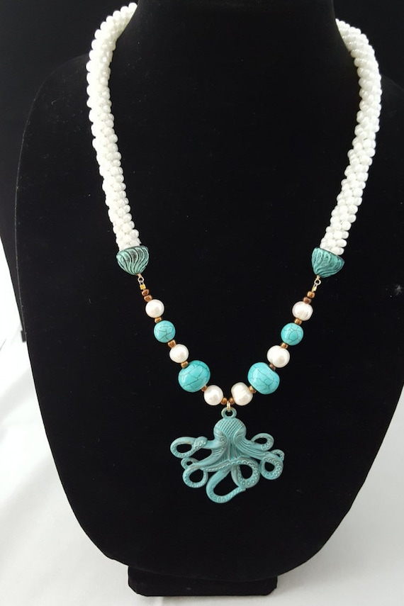 Turquoise and white beaded kumihimo woven necklace with octopus pendant and freshwater pearls