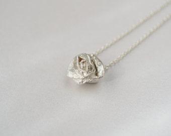 Silver Rose pendant necklace