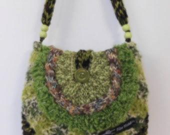 Bag, Knitted hand/shoulder bag in spring greens.  Bag no 026