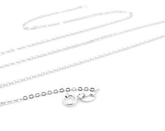 18 in. Italy 925 Sterling Silver Rolo Chain 0.8mm Necklace with Gift Box - USA Seller
