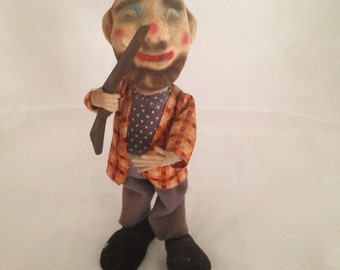 Standing Hunter Holding Rifle Cloth Clothes Plastic Legs Fuzzy Flocked Face  (132)