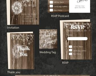 Rustic Dandelion Wedding Invitation set