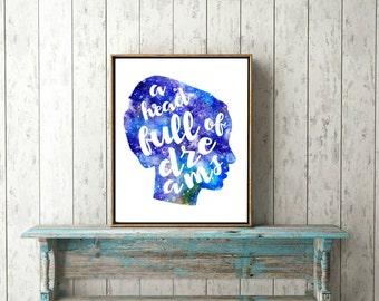 Printable wall art head full of dreams silhouette kids room nursery