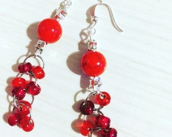 Pendant earrings with red resin and glass beads and steel stars, gift idea