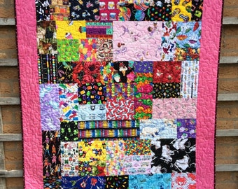 Unique Handmade patchwork I-Spy Quilt Childs Quilt.Dog Quilt.Comforter.Animal Quilt.Pink Quilt.Girls Bedding.Ballerina Quilt