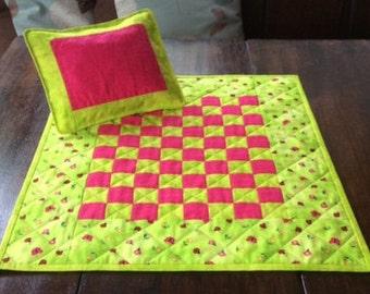 Handmade Green Dolly Quilt And Pillow. Patchwork Quilt. Pink Quilt. Dolls Bedding.Pillow.