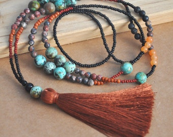 Beaded Tassel Necklace, Long Boho Necklace, Semi Precious Gemstone Beads, African turquoise