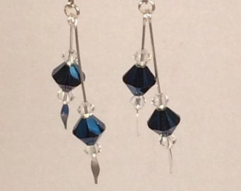 Swarovski Crystal Metallic Blue Drop Earrings