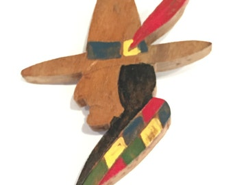 Wooden Painted American Indian w Feather in Hat- Pin