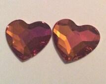 2 flat back Swarovski two toned hearts / embellishments / Swarovski crystal