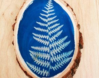 Yosemite Fern - Cyanotype on Wood