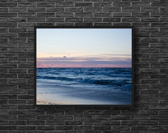 Sunset Sea Photo - Sunset Photo - Sea Photo - Pink and Blue - Evening - Sea Print - Sea Wall Art - Sea Wall Decor - Sea Bedroom Decor