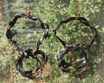 Bike Tube and Copper Circle Earrings
