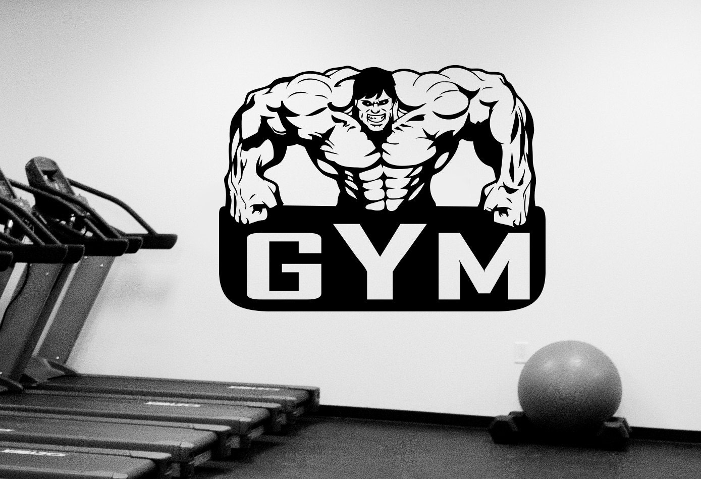 Gym emblem wall sticker vinyl window decal custom sign art