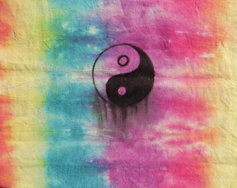 SALE!  Tie Dyed Cotton Tote Bag - With 'Dripping' Yin and Yang symbol design. Ethical boho bags!