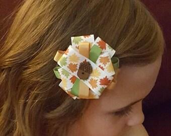 Autumn Acorn Hair Bow