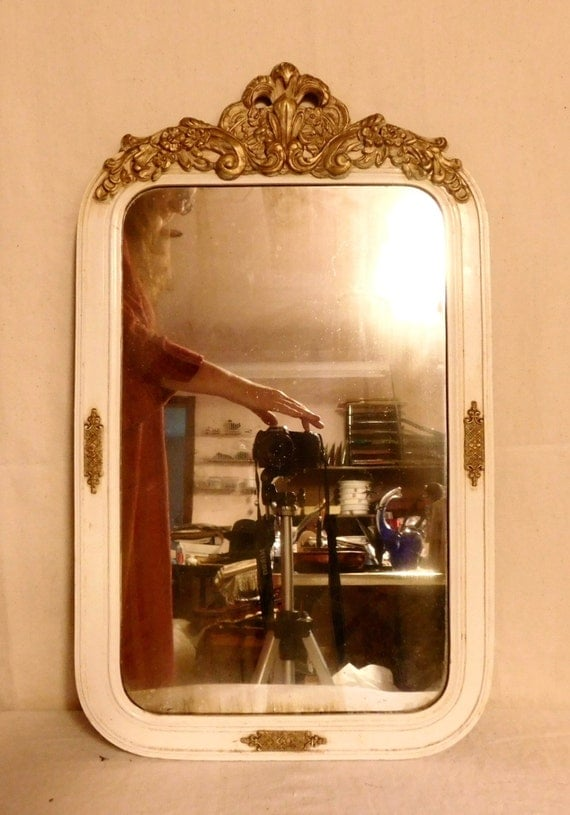 Victorian shabby chic mirror in white and gold with streaky for White and gold mirror
