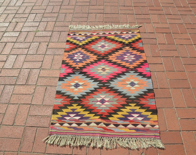 Multi Colored Rug Small Turkish Kilim Rug Christmas Decoration Vintage Turkish Rug Tribal Rug Turkish Kilim Rug Kelim Rug Boho Rug
