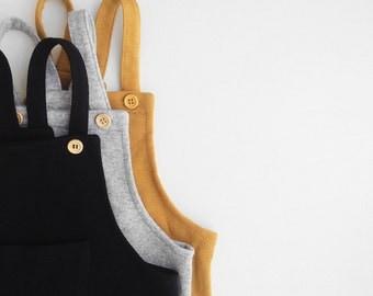 Kids Jumpsuit - Salopette style with shoulder straps and wooden buttons - minimalist jumpsuit, designers romper, toddler - Little Acorns