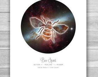 Cosmic Bee Spirit Animal Print ~ Art Print ~ Animal Totem ~ Constellation ~ Galaxy ~ Astronomy ~ Space ~ Home Decor ~ 8 x 10 or 11 x 14