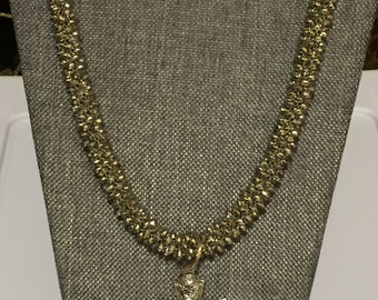 Silver beaded Kumihimo braided necklace