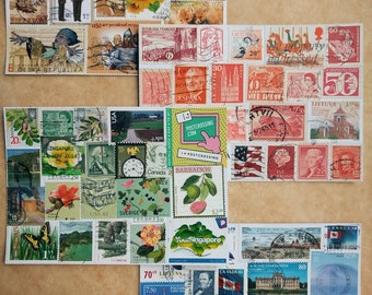 Handmade postcard decorated with stamps 1pcs