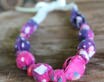 Painting Clothes - Beaded Ribbon Tie Nursing/Teething/Baby Wearing Necklace