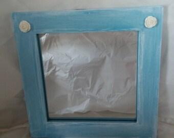 Mirror Jewelry Display, Blue or Green Framed Mirror, Jewlery Organizer