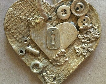 Modern Heart Ornament, altered art, unique holiday gift, assemblage (HC03)