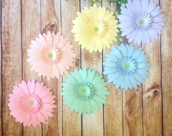"Pastel Rainbow Gerbera Daisy set 8"" Giant paper flowers, gender neutral baby shower gift idea, nursery decorations, flower wall for wedding,"
