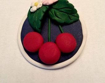 Handmade Clay Pin-Cherries