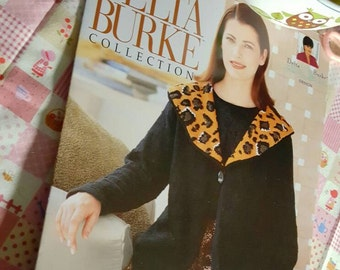 1990s Delta Burke Collection Plus Size Knits Leopard Collar Jacket Knitting Pattern OOP