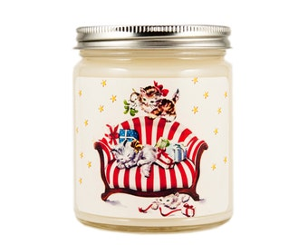 Christmas Kittens Candle, Scented Candle, Vintage Candle, Container Candle, Soy Candle, Christmas Candle, Holiday Candle