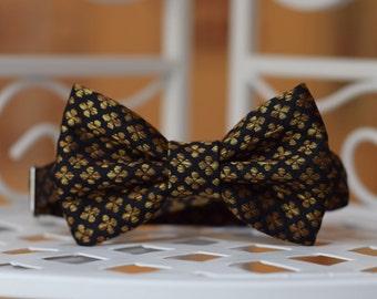 Silk Bow tie Boys bow tie Black and gold Birthday bow tie Wedding bow tie Family photo Christmas bow tie Page boy bow tie Ring bearer bowtie