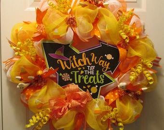 Candy Corn Treats Halloween Deco Mesh Wreath