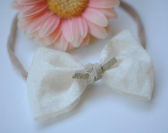 Ivory silky bow headband