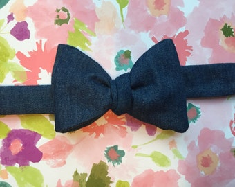 Denim Self-tie Bowtie