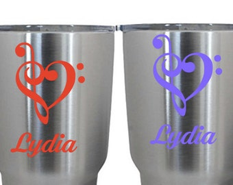 Yeti Decal, Music Decal, Treble and Bass Clef Heart Decal, Laptop Decal, Hydro Flask Decal, Camelback Decal,