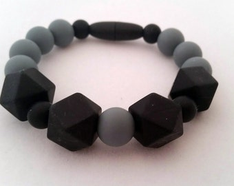 Gray and Black Silicone beaded Teething bracelet, 100% Food Grade Silicone, Sensory Bracelet, Teething Beads, BPA Free, Fidget Jewelry